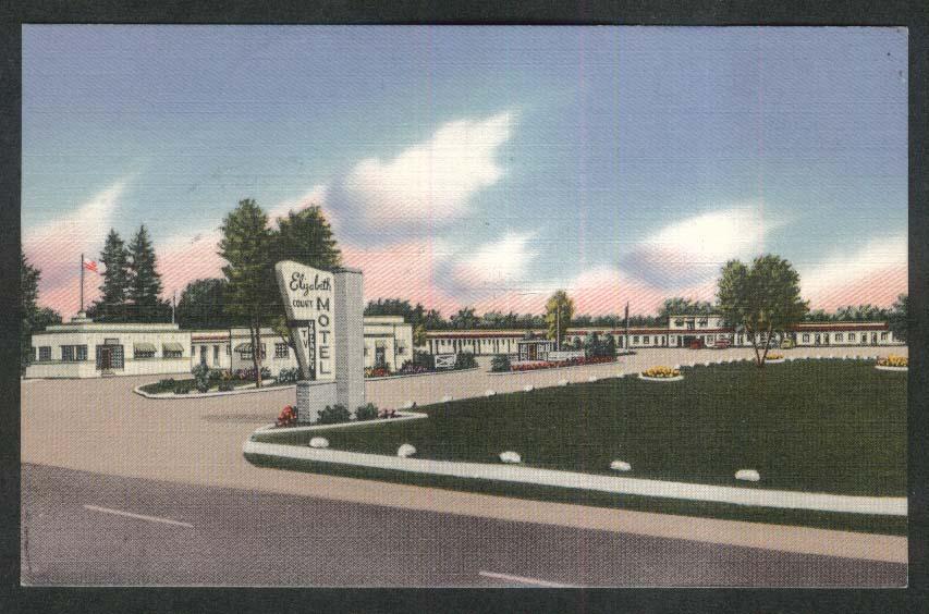 Elizabeth Court Deluxe Motel 1551 Dundas St London Ontario Canada postcard 1958