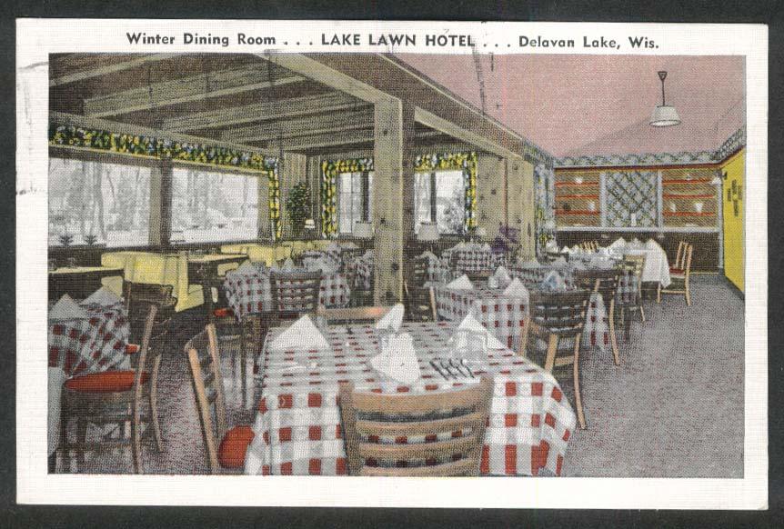 Winter Dining Room Lake Lawn Hotel Delavan Lake WI postcard 1987