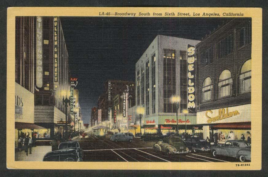 Swelldom Mullen & Bullet Silverwoods Kress Los Angeles CA postcard 1951