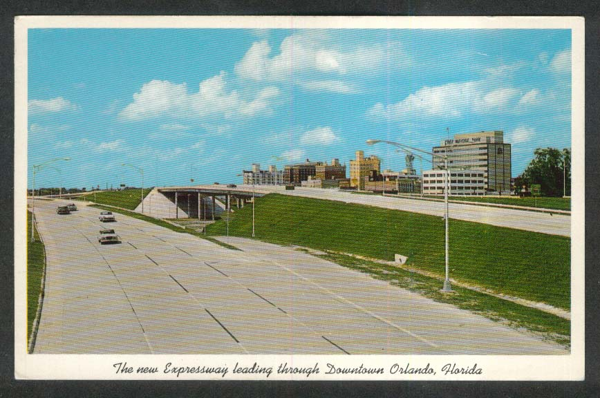 Expressway through Downtown Orlando FL postcard 1963