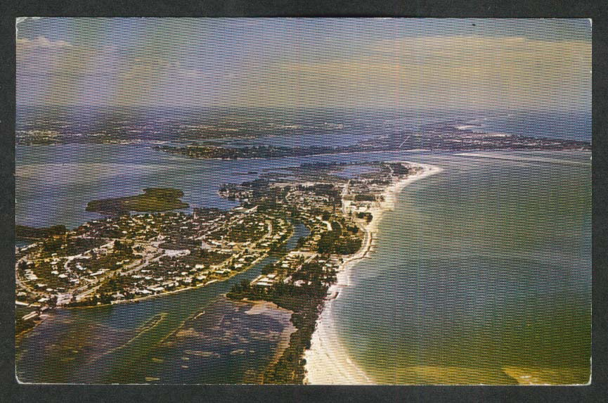 Aerial View of St Armands & Lido Keys Siesta Key Sarasota FL postcard 1950s