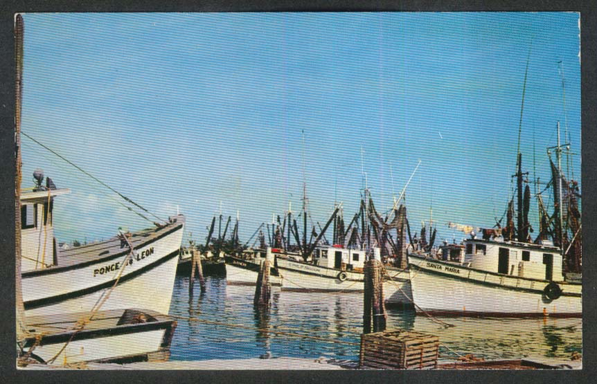 Ponce de Leon Shrimp Boats Key West Florida Harbor FL postcard 1956