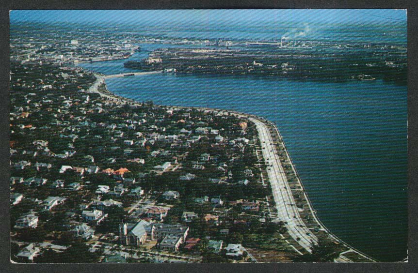 Airview of Tampa FL Davis Island postcard 1953