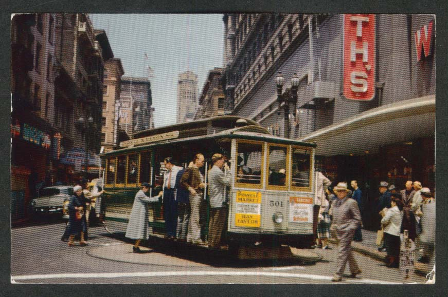 Cable Cars on Turntable Powell & Market San Francisco CA postcard 1955