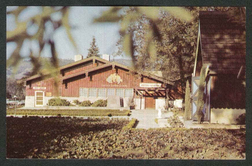 Italian Swiss Colony Wine Tasting Room CA postcard 1968