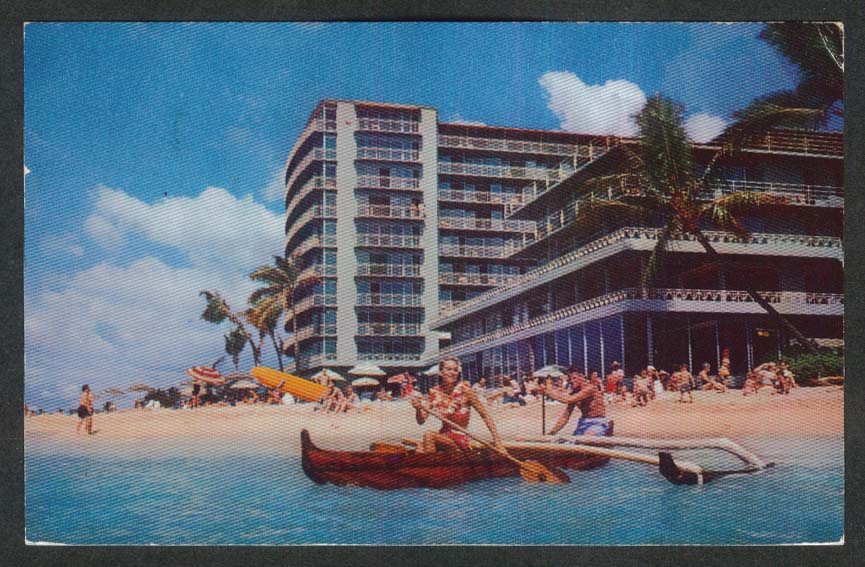 Reef Hotel Waikiki Beach Honolulu Hawaii HI postcard 1959