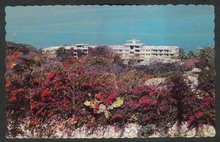 Overlooking Montego Beach Hotel Montego Bay Jamaica postcard 1967