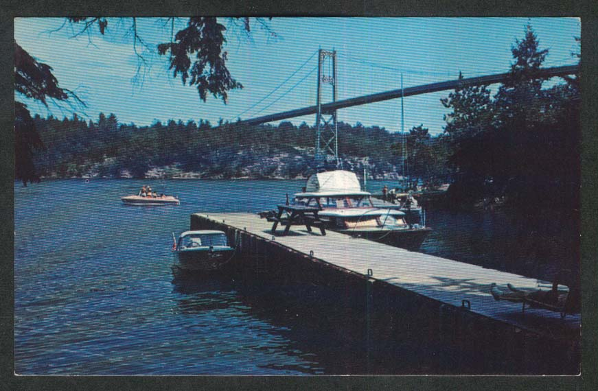 Thousand Islands International Bridge Ontario Canada postcard 1967