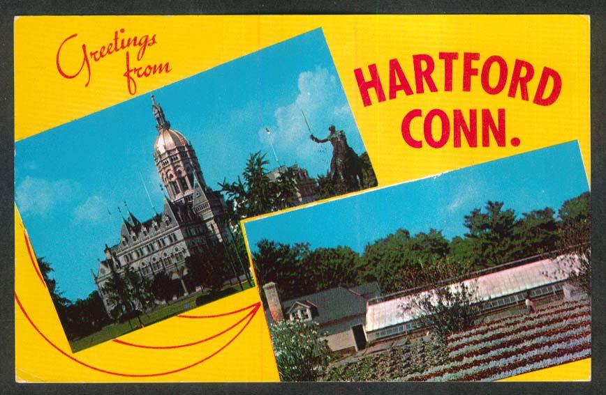 State Capitol Lafayette Statue Elizabeth Park Hartford CT postcard 1966