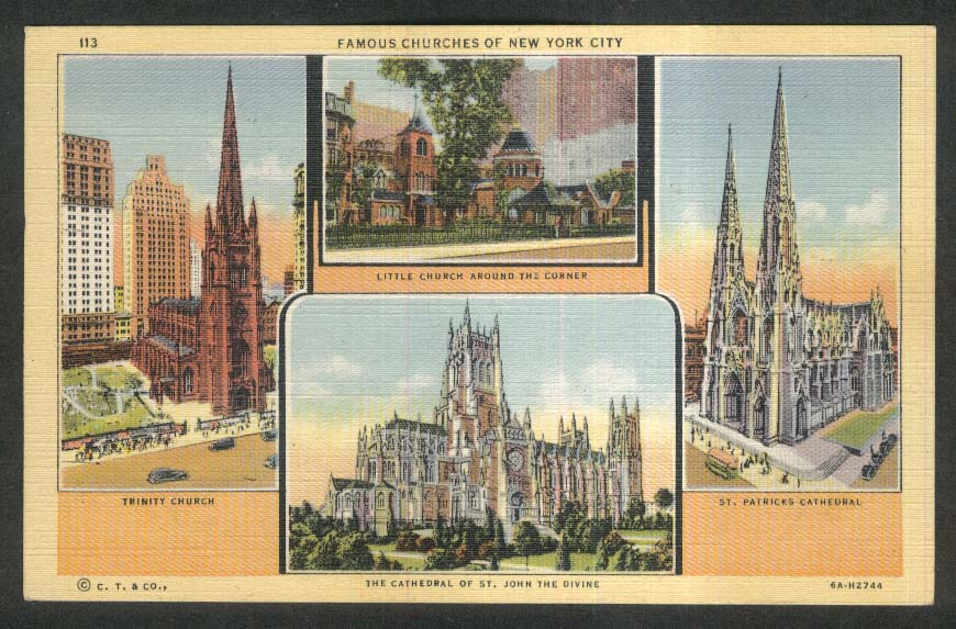 Trinity Church St Patrick's Cathedral St John Divine New York NY postcard 1948