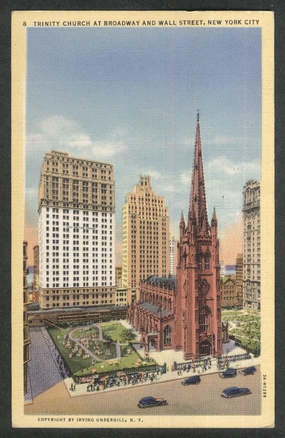 Trinity Church at Broadway & Wall Street New York City NY postcard 1943