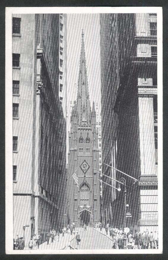Trinity Church Broadway & Wall Street New York City NY postcard 1948