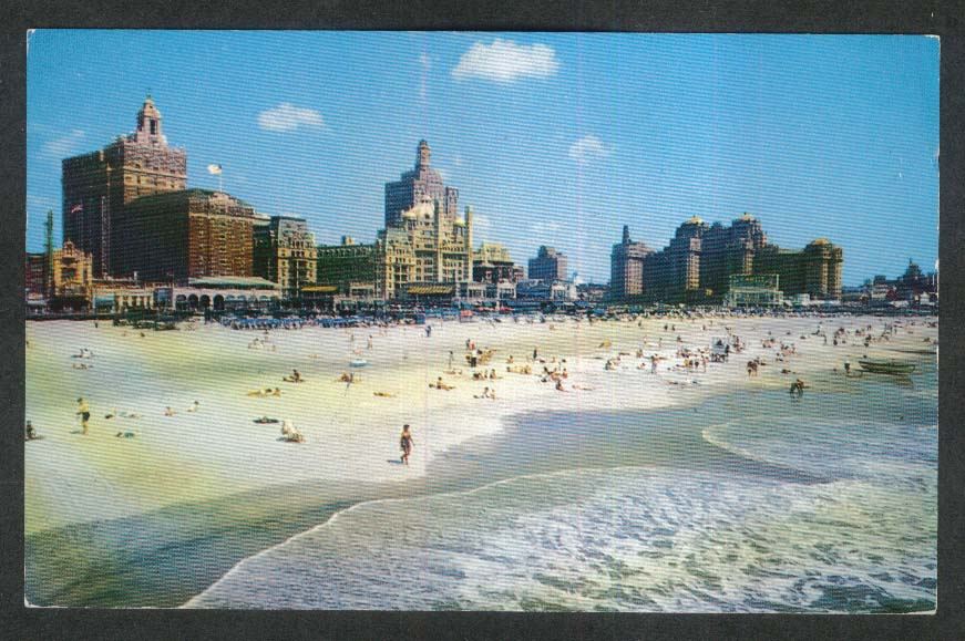 Beach & Central Skyline Atlantic City NJ postcard 1959