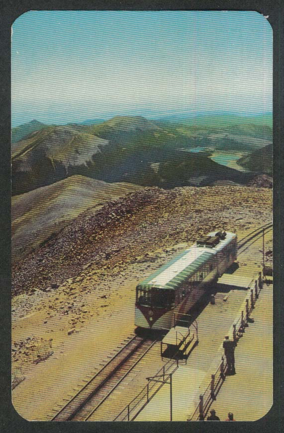 Panorama at summit of Pikes Peak CO postcard 1966