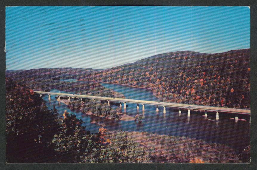 Delaware Water Gap Bridge PA postcard 1965