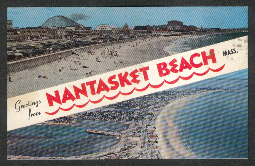 Greetings from Nantasket Beach MA postcard 1966