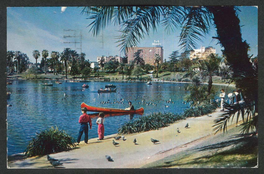 Lake in MacArthur Park Wilshire Blvd Los Angeles CA postcard 1960