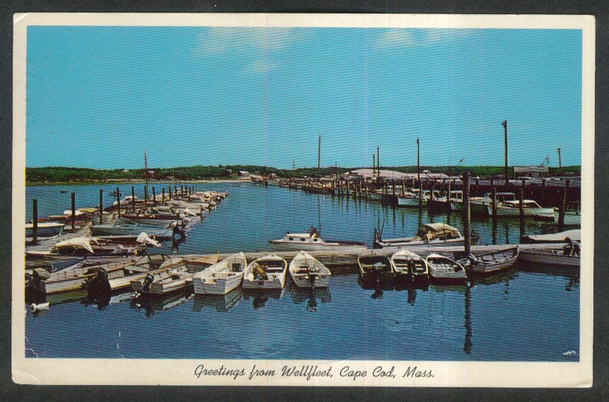 Pleasure Boats in Wellfleet Harbor Cape Cod MA postcard 1963