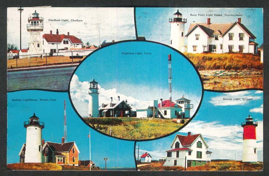 Chatham Nobska Highland Race Point Nauset Lighthouse Cape Cod MA postcard 1959