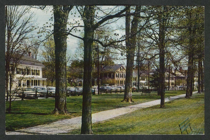 The Green at Woodstock VT postcard 1972