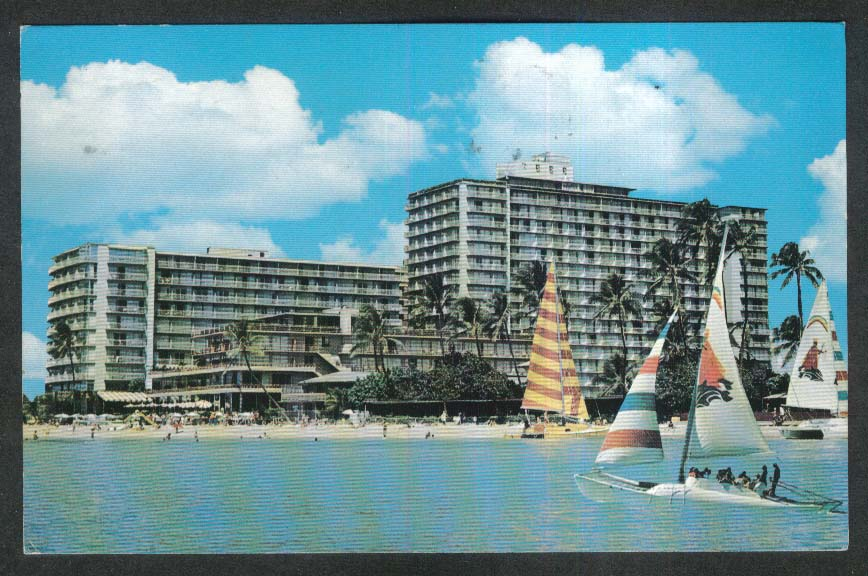 Reef Hotel Waikiki Beach Hawaii HI postcard 1979