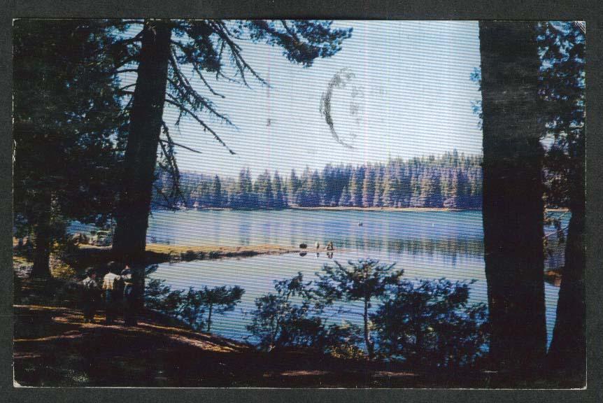 Lake Sequoia Kings Canyon National Park Sierra Nevada CA postcard 1957
