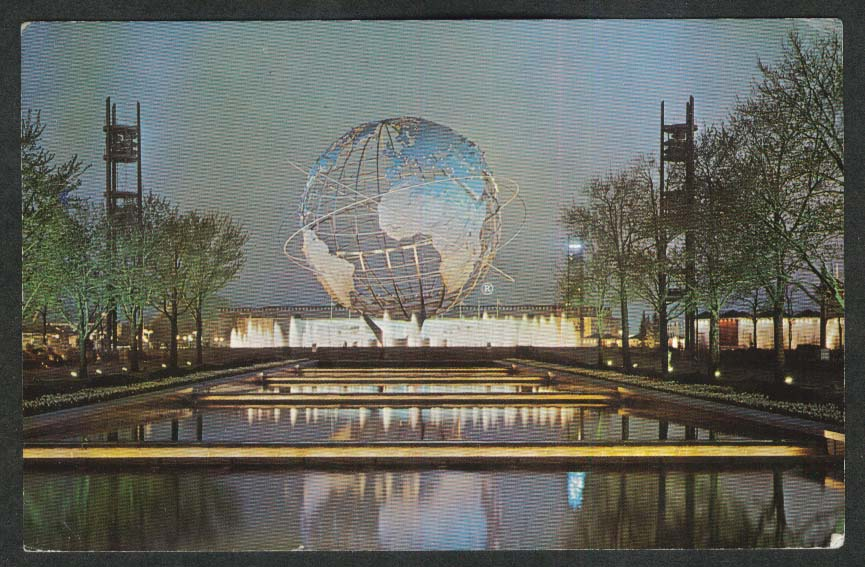 Unisphere Night Scene New York World's Fair 1964 1965 postcard