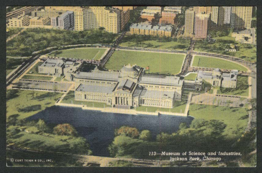 Museum of Science & Industries Jackson Park Chicago IL postcard 1930s