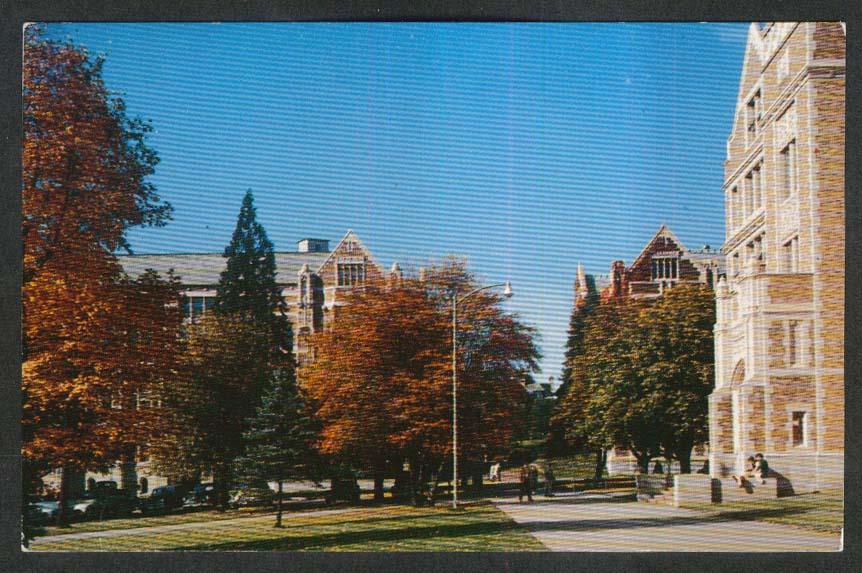 Fall Colors Smith Thompson Hall University of Washington Campus WA postcard 1955