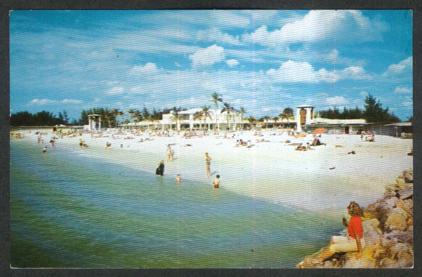 Beach Club at Lido Beach Sarasota FL postcard 1966