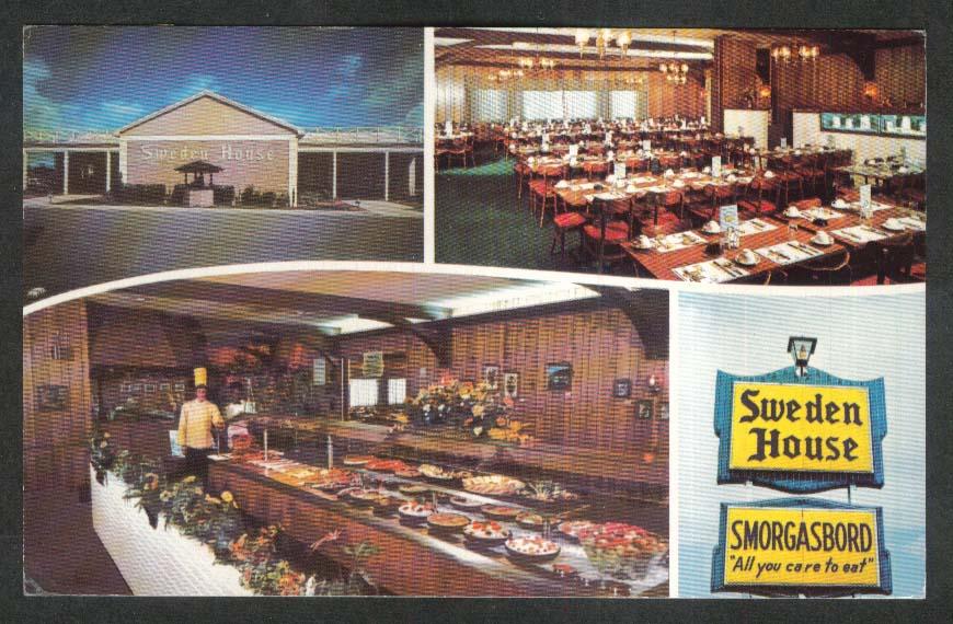 Sweden House Smorgasbord FL postcard 1973