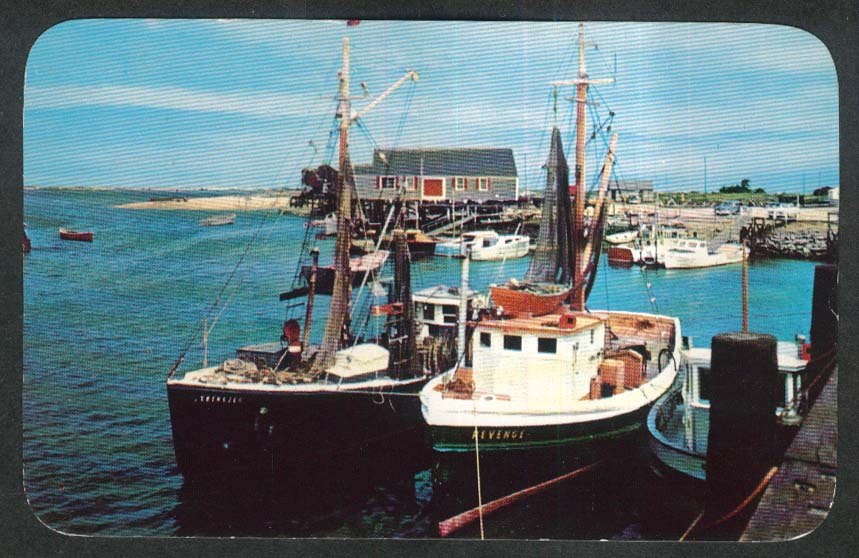 Fishing Boats in Harbor Cape Cod MA postcard 1956