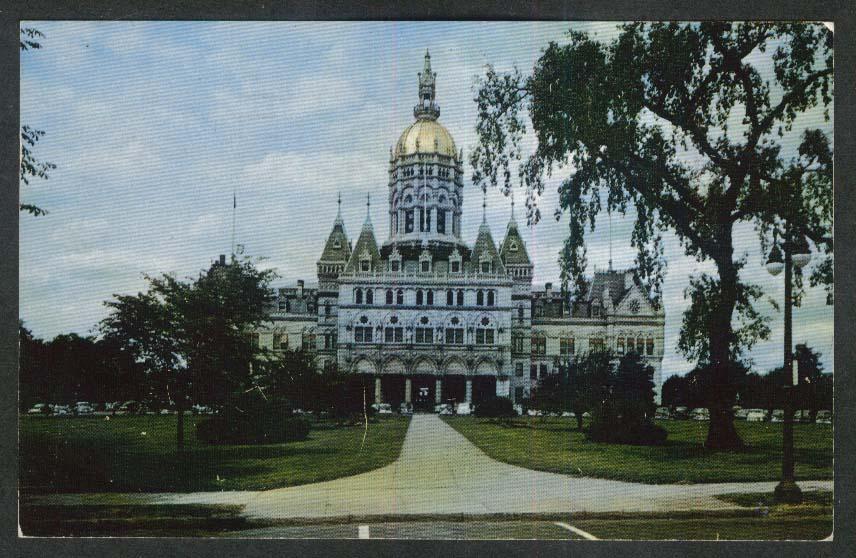 State Capitol Hartford CT postcard 1954