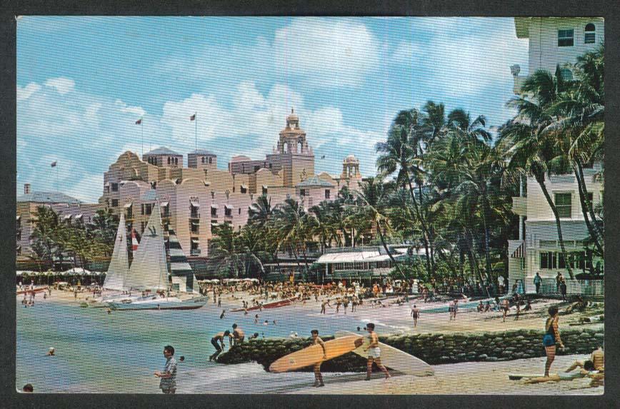 Hawaiian & Moana Hotel Waikiki Beach Honolulu Hawaii HI postcard 1974
