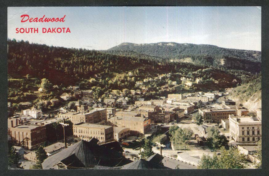 Birdseye view of Deadwood Black Hills SD postcard 1963