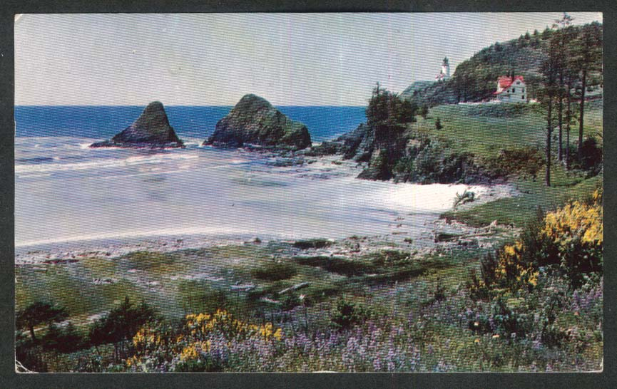 Heceta Head Lighthouse Oregon Coast OR postcard 1958