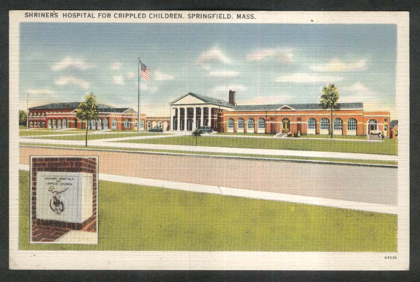 Shriner's Hospital for Crippled Children Springfield MA postcard 1930s