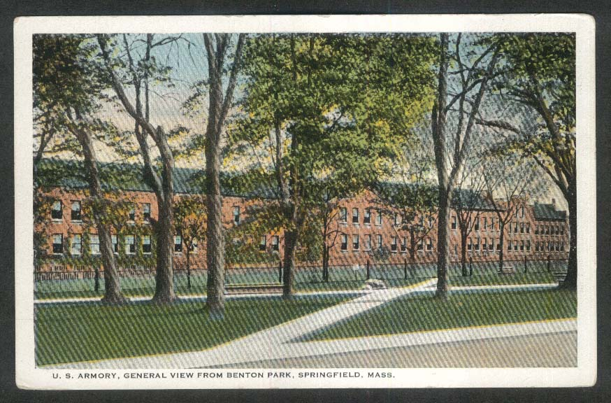 US Armory General View from Benton Park Springfield MA postcard 1920s