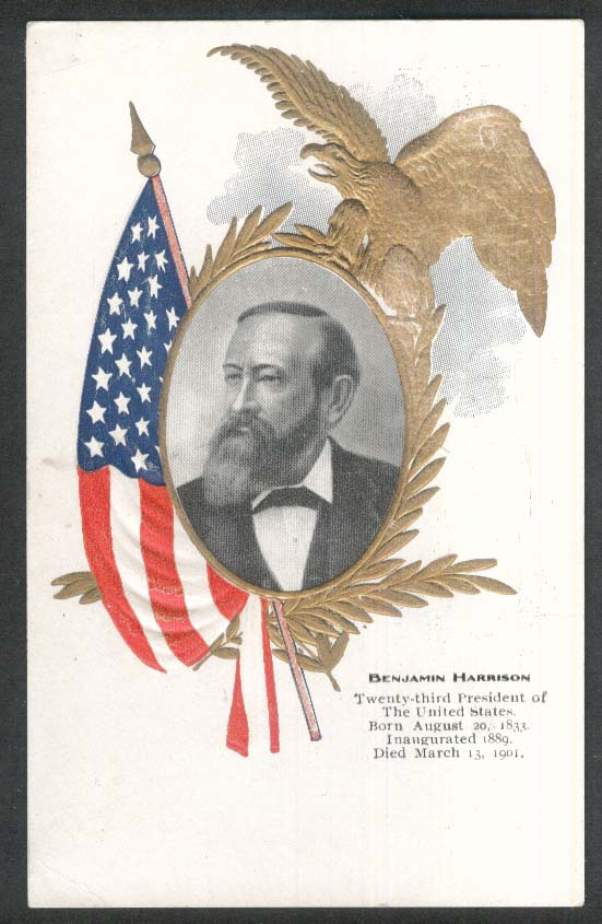 Benjamin Harrison 23rd President embossed undivided back postcard 1900s