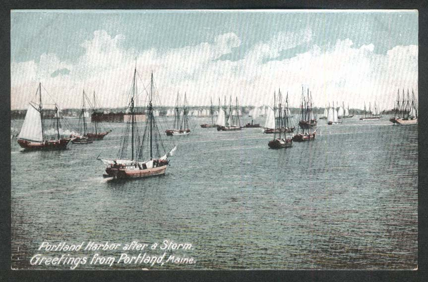 Portland Harbor after a Storm Portland ME postcard 1910s