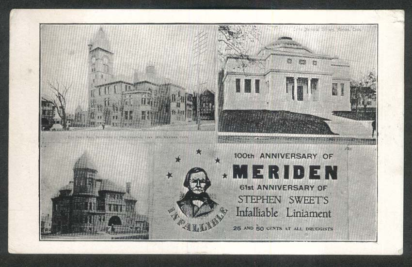 Meriden CT Stephen Sweet Infalliable Liniament undivided back postcard 1900s