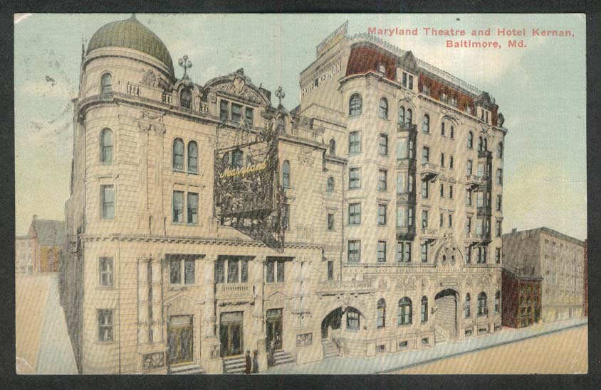 Maryland Theatre & Hotel Kernan Baltimore MD postcard 1914