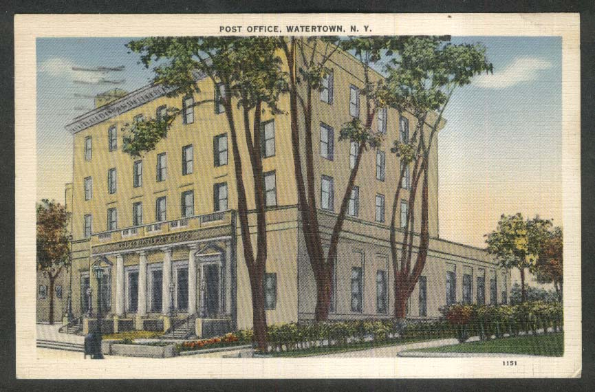Post Office Watertown NY postcard 1939