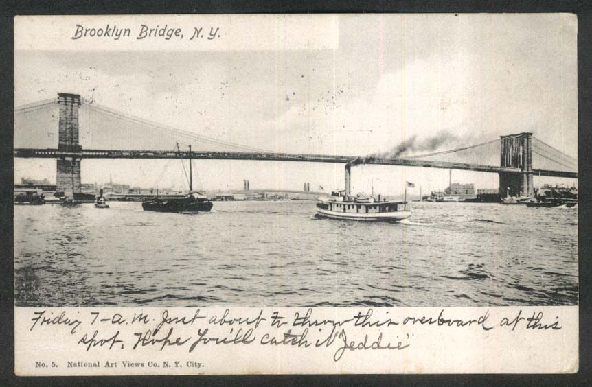 Brooklyn Bridge New York City NY undivided back postcard 1904