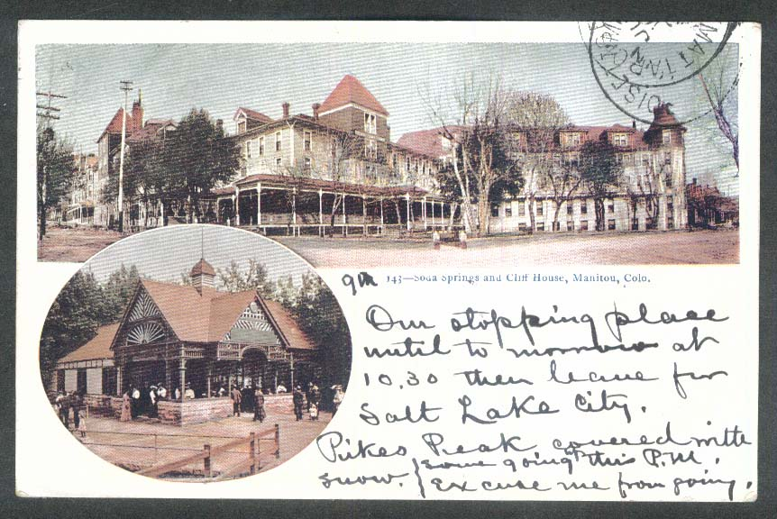 Soda Springs & Cliff House Manitou CO undivided back postcard 1905