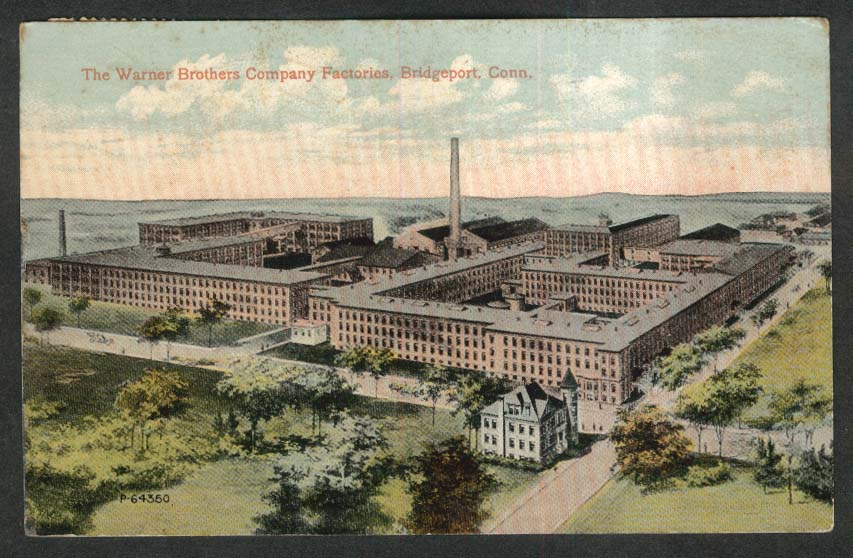 Warner Brothers Company Factories Bridgeport CT postcard 1913
