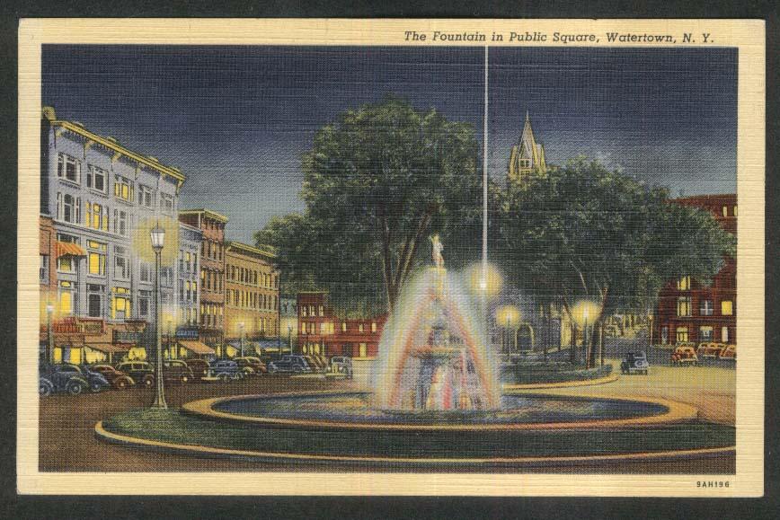 Grant's Fountain in Public Square Watertown NY postcard 1944
