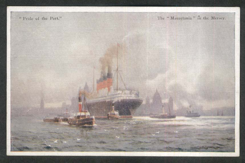 Pride of the Port ocean liner Mauretania in the Mersey postcard 1930s