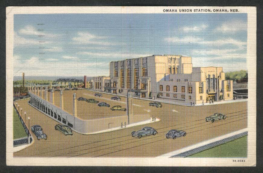 Omaha Union Station Omaha NE postcard 1942