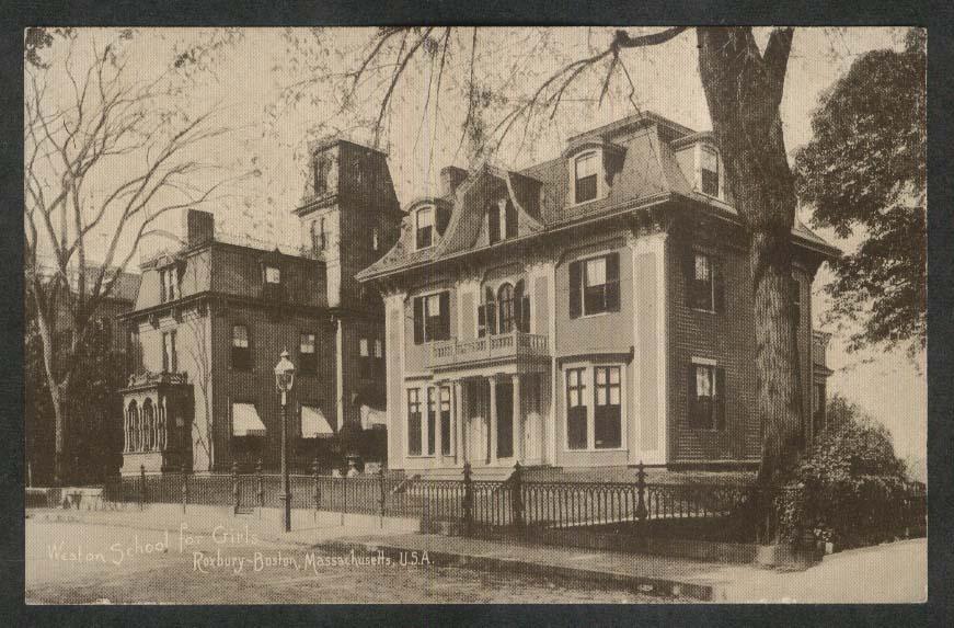 Weston School for Girls 43 St James Street Roxbury Boston MA postcard 1910s